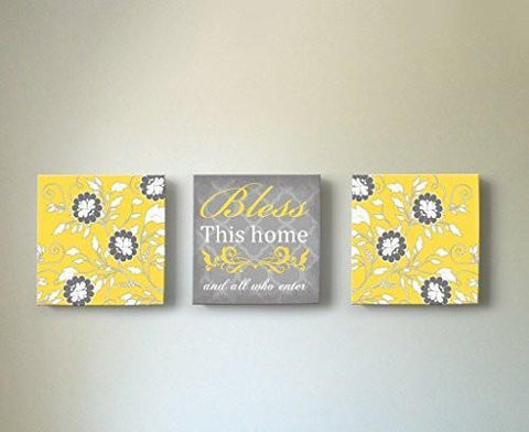 Flower - Bless This Home & All Who Enter, Stretched Canvas Wall Art, Memorable Anniversary Gifts, Unique Wall Decor, Color, Yellow - 30-DAY - Set of 3-B018KOBBAK-MuralMax Interiors