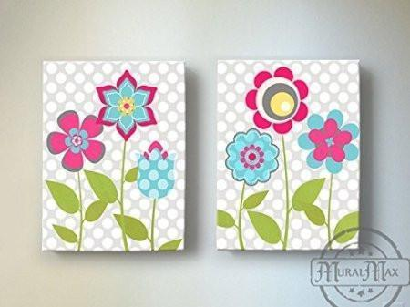 Flower Garden Nursery Theme - Canvas Wall Decor - Polka Dots & Flower Collection - Set of 2-B018ISMKJE