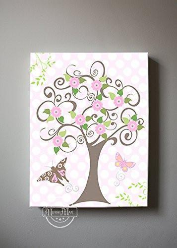 Flower Tree Garden & Butterfly Canvas Nursery Art - The Canvas Polka Dot Collection-B0190186WI-MuralMax Interiors