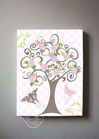 Flower Tree Garden & Butterfly Canvas Nursery Art - The Canvas Polka Dot Collection-B0190186WI