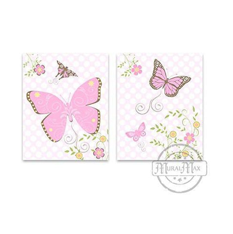 Flowers & Butterfly Collection - Set of 2 - Unframed Prints-B01CRT7TLE-MuralMax Interiors