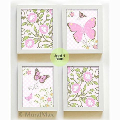 Flowers & Butterfly Nursery Collection - Set of 4 - Unframed Prints-B01CRT7LDU-MuralMax Interiors