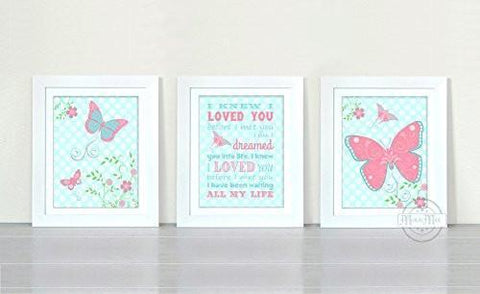Flowers & Butterfly Nursery Rhyme Collection - Set of 3 - Unframed Prints-B01CRT84FE-MuralMax Interiors