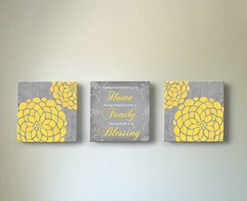 Flowers - Home Family Blessing Quote, Stretched Canvas Wall Art, Memorable Anniversary Gifts, Unique Wall Decor, Color, Yellow - 30-DAY - Set Of 3-B018KOBOZC-MuralMax Interiors