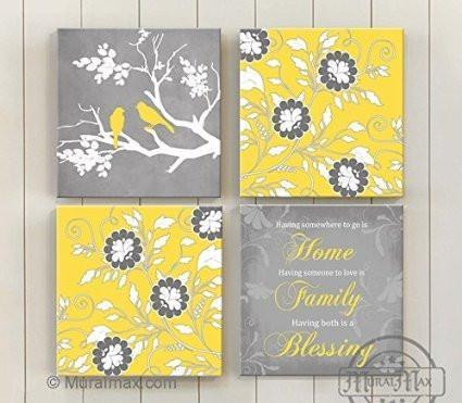 Flowers - Home Family Blessing Quote, Stretched Canvas Wall Art, Memorable Anniversary Gifts, Unique Wall Decor, Color, Yellow - 30-DAY - Set Of 4-B018KOC6HM-MuralMax Interiors