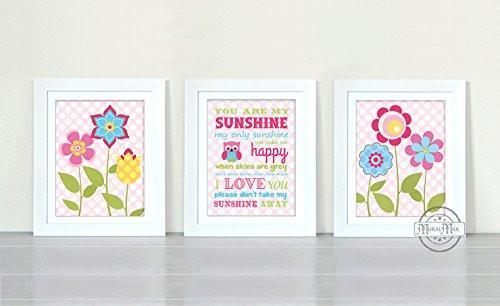 Flowers & Polka Dots Yoy Are My Sunshine Theme - Set of 3 - Unframed Prints-B01CRT8PP8