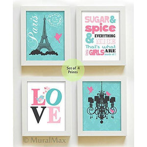 From Paris With Love Collection - Set of 4 - Unframed Prints-B01CRMIJT2-MuralMax Interiors