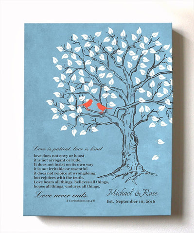 Gift For Her - Love is Patient Love is Kind Family Tree With Lovebirds - Anniversary and Christmas Gift - Blue # 1 - B01HWLKOLO-MuralMax Interiors