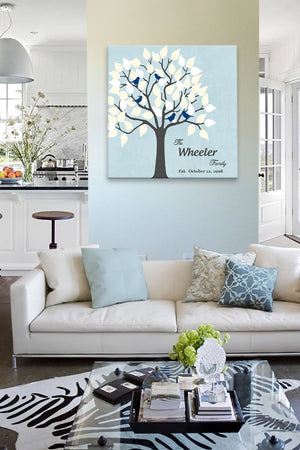 Gift for Mom and Dad - Personalized Family Tree Canvas Wall Art - Unique Wall Decor - Color - Powder Blue - B01IFBS46C-MuralMax Interiors