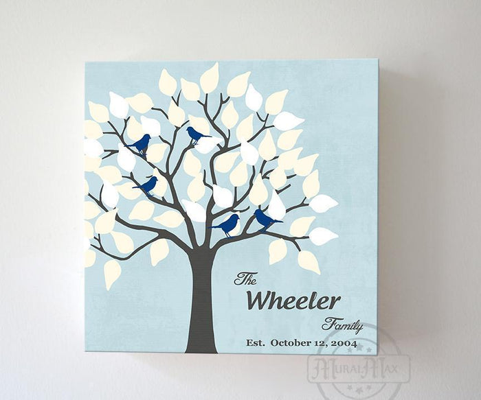 Gift for Mom and Dad - Personalized Family Tree Canvas Wall Art - Unique Wall Decor - Color - Powder Blue - B01IFBS46C