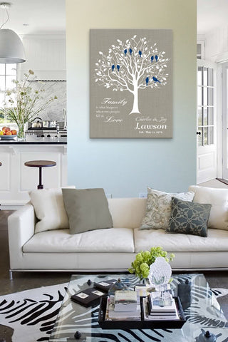 Gift for Parents - Personalized Family Tree Stretched Canvas Wall Art - Wedding & Anniversary Gifts - Unique Wall Decor - Taupe