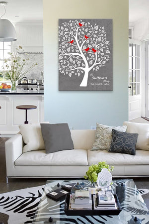 Gift for Wife - Personalized Unique Family Tree - Stretched Canvas Wall Art - Wedding & Anniversary Gifts Unique Decor - GrayHomeMuralMax Interiors