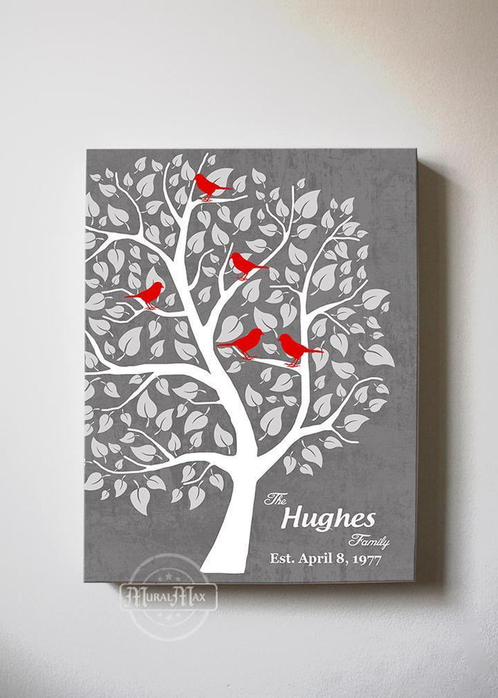 Gift for Wife - Personalized Unique Family Tree - Stretched Canvas Wall Art - Wedding & Anniversary Gifts Unique Decor - Gray