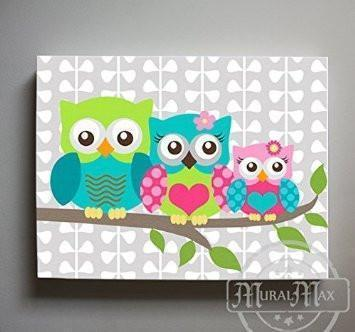 Girl Owl Family Canvas Art - Mom Dad Baby Owl Nursery Decor - Hot Pink Teal Lime Wall Art