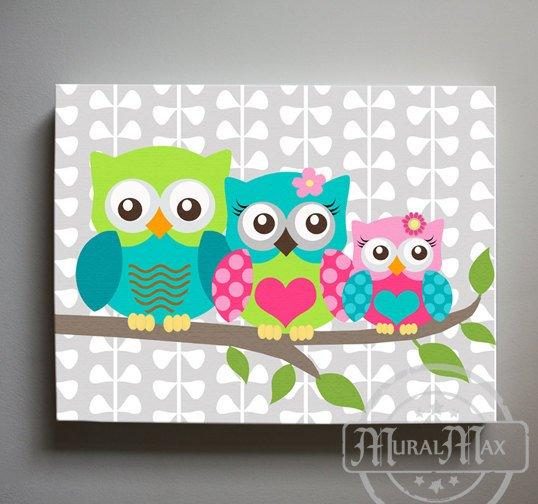 Girl Owl Family Canvas Art - Mom Dad Baby Owl Nursery Decor - Hot Pink Teal Lime Wall Art-MuralMax Interiors