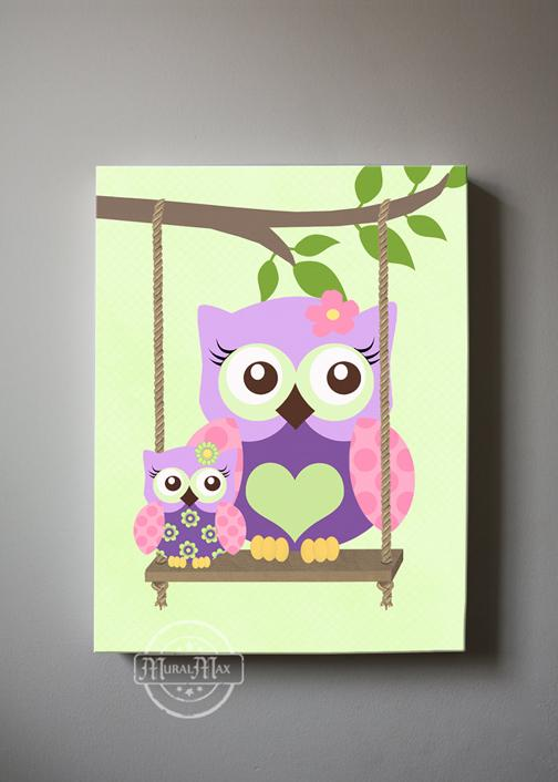 Girl Room Decor Owl Canvas Art - Purple Pink Owl Wall Art-MuralMax Interiors