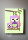 Girl Room Decor Owl Canvas Art - Purple Pink Owl Wall Art