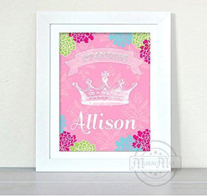 Girl Room Decor - Personalized Princess Crown - Unframed Print-MuralMax Interiors