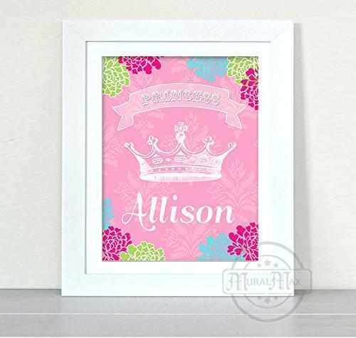 Girl Room Decor - Personalized Princess Crown - Unframed Print