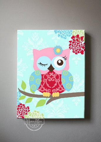 Girl Room Decor - Winking Owl Nursery Canvas Decor - Teal Pink Red Girl Nursery Art