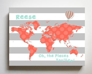 Girl Room or Playroom Decor - Personalized World Map Nursery Wall Decor - Dr. Seuss Nursery DecorBaby ProductMuralMax Interiors