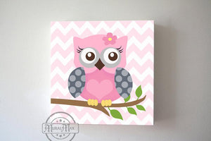Girl Room Owl Wall Art - Pink & Gray Toddler Room Decor-MuralMax Interiors