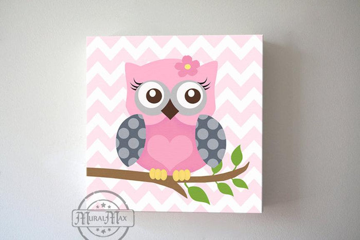 Girl Room Owl Wall Art - Pink & Gray Toddler Room Decor