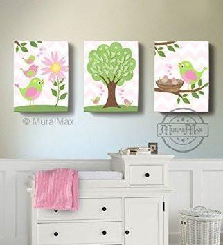 Girl Room Wall Art - Pink And Green Canvas Decor - The Lovebird Collection - Set of 3-B018GSWOH4-MuralMax Interiors