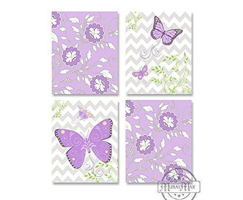 Girls Chevron Butterfly Nursery Theme - Set of 4 - Unframed Prints-B01CRMILOK-MuralMax Interiors