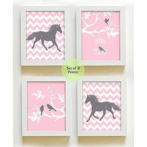Girls Chevron Horse Collection - Set of 4 - Unframed Prints-B01CRT6ZQY-MuralMax Interiors