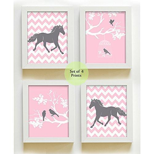 Girls Chevron Horse Collection - Set of 4 - Unframed Prints-B01CRT6ZQY