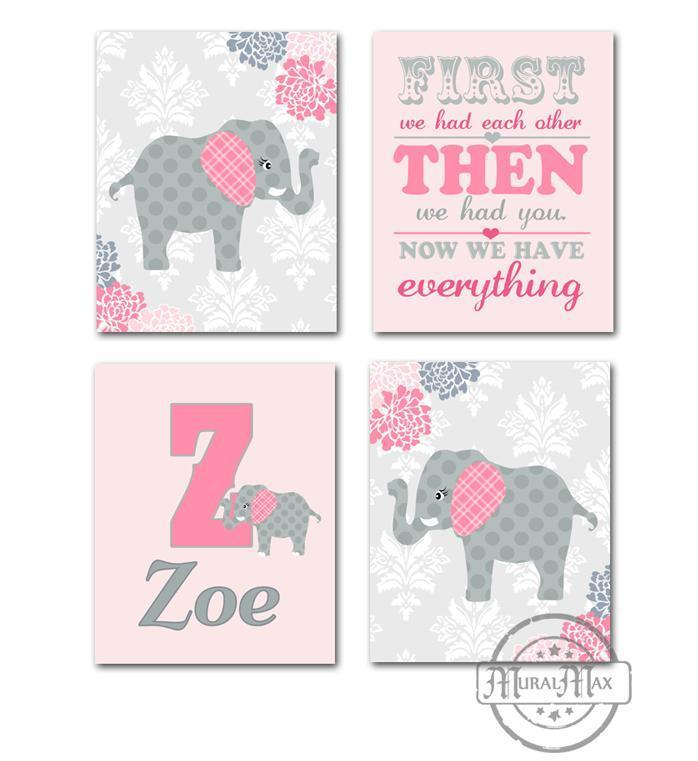 Girls Floral Elephant Nursery Art - Pink Gray Personalized Wall Art - Set of 4 - Unframed Prints
