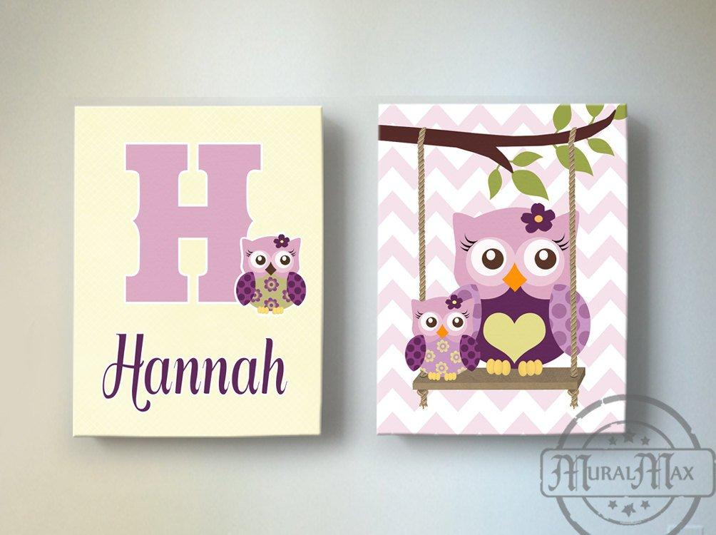 Girls Owl Nursery Art - Plum Owls Swinging Personalized Canvas Art - Set of 2-MuralMax Interiors