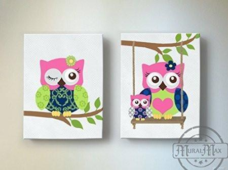 Girls Room Wall Art - Hot Pink Navy Owl Canvas Decor -The Owl Collection - Set of 2-MuralMax Interiors