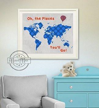 Global Map - Dr Seuss - Oh The Places You'll Go - Unframed Print-B018KOAO5I-MuralMax Interiors