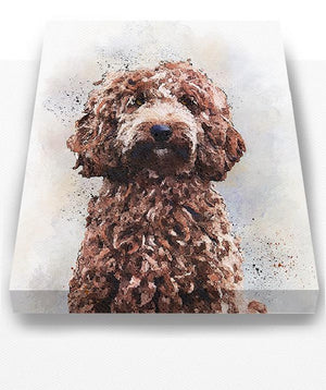 Golden-Doodle Dog Watercolor Pet Portrait Painting Canvas Art - Animal Illustration - Home Decor - Nursery Decor Contemporary Dog Wall ArtHomeMuralMax Interiors