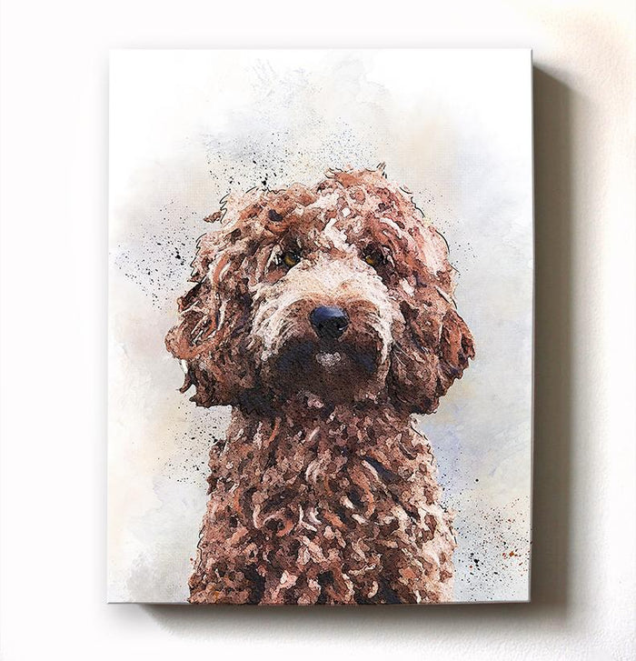 Golden-Doodle Dog Watercolor Pet Portrait Painting Canvas Art - Animal Illustration - Home Decor - Nursery Decor Contemporary Dog Wall Art