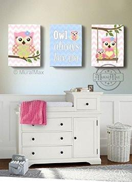 Happy Owl Girl Room Canvas Wall Art - Owl Always Love You - Set of 3-Pink Green Blue Decor