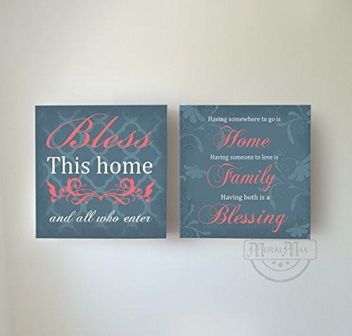home family blessing inspirational quotes stretched canvas wall