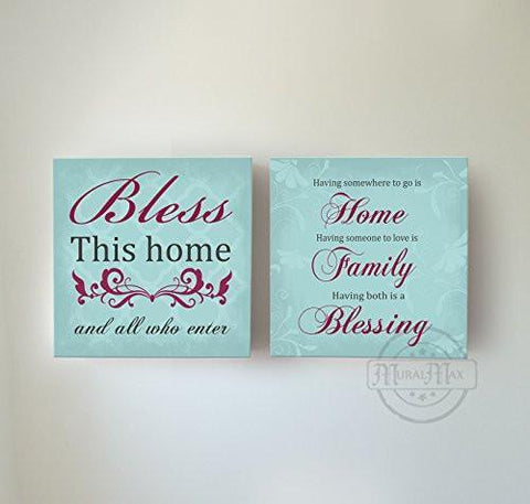 Home Family Blessing Inspirational Quotes - Stretched Canvas Wall Art - Memorable Anniversary Gifts - Unique Wall Decor - 30-DAY - Set Of 2-B01LWI5UR0-MuralMax Interiors