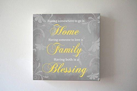 Home Family Blessing Quote - Stretched Canvas Wall Art - Make Your Wedding & Anniversary Gifts Memorable - Unique Wall Decor - Color - Gray - 30-DAY-B018KOCF00-MuralMax Interiors