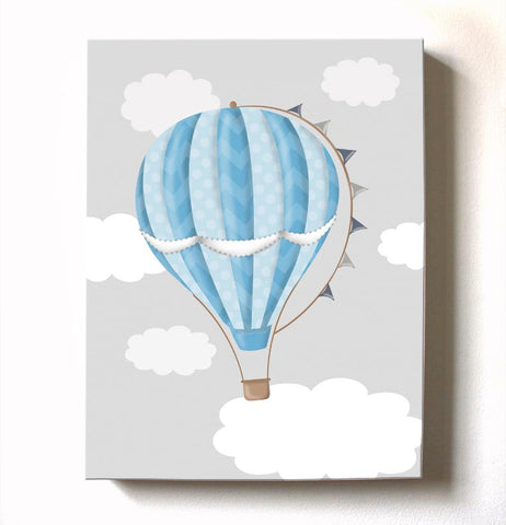 Hot Air Balloon Nursery Art - Modern Aviation Toddler Boy Room or Playroom DecorBaby ProductMuralMax Interiors