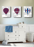 Hot Air Balloon Nursery Wall Art Canvases - Boys Room Vintage Balloons Wall Art -  Set of 3