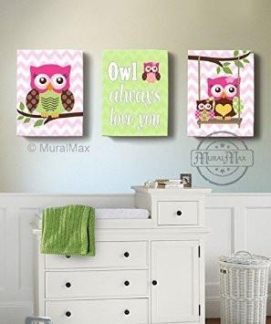 Hot Pink Brown Girl Room Decor - Owls Canvas Wall Art - Owl Always Love You Set of 3 Decor-MuralMax Interiors