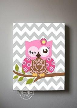 Hot Pink Floral Owl Canvas Wall Art - Girl Room Decor - Set of 2-Brown Hot Pink Decor-MuralMax Interiors