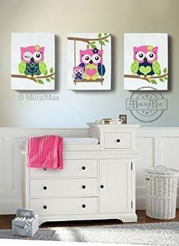Hot Pink Lime Toddle Girl Room Decor - Owl Canvas Art - Set of 3-MuralMax Interiors