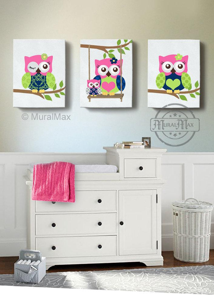 Hot Pink Lime Toddle Girl Room Decor - Owl Canvas Art - Set of 3