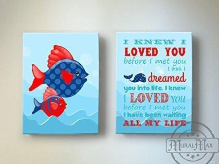 I Knew I Loved You - Nursery Inspirational Rhyme - Canvas Decor - Set of 2-B018ISIDTA