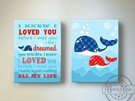 I Knew I Loved You - Nursery Inspirational Rhyme - Canvas Decor - Set of 2-B018ISIIPE
