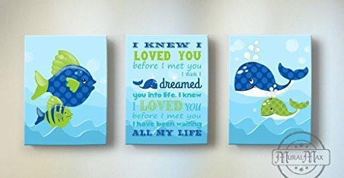 I Knew I Loved You - Nursery Inspirational Rhyme - The Fish & Whales Collection - Canvas Decor - Set of 3-B018ISJDUS-MuralMax Interiors